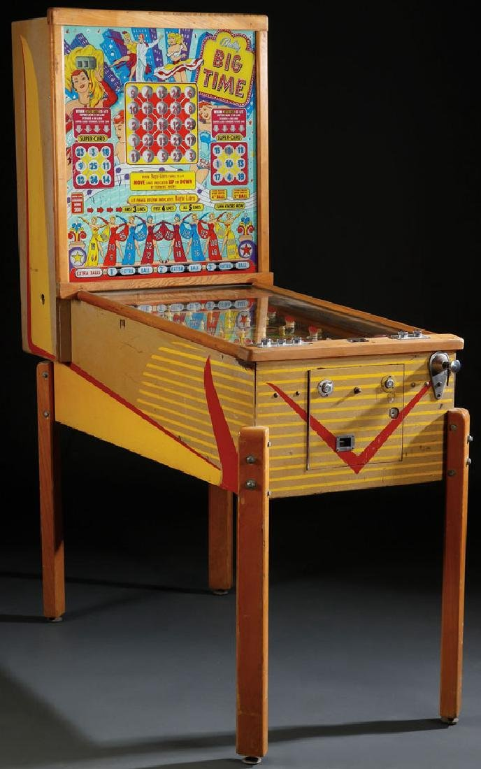 "A BALLY ""BIG TIME"" PINBALL MACHINE, CIRCA 1950"