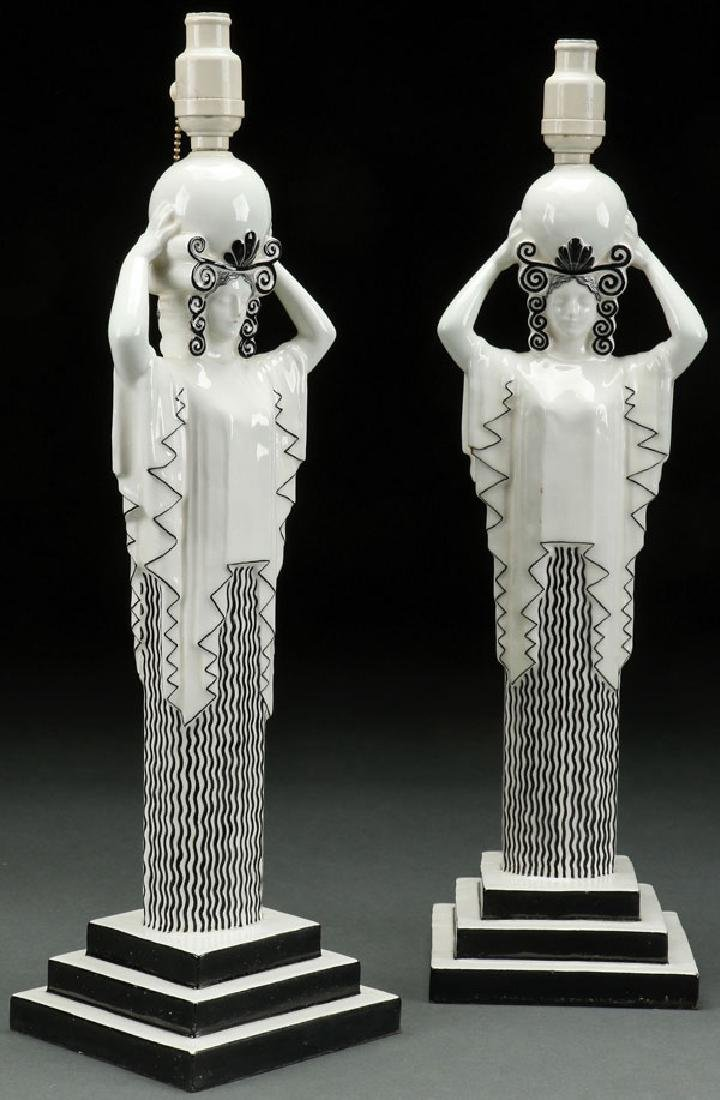 A PAIR OF RARE KERAMOS AUSTRIAN ART DECO LAMPS