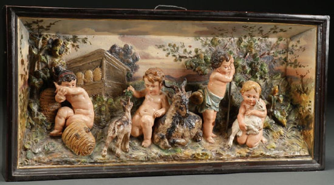 A GOOD CONTINENTAL MAJOLICA GLAZED POTTERY RELIEF