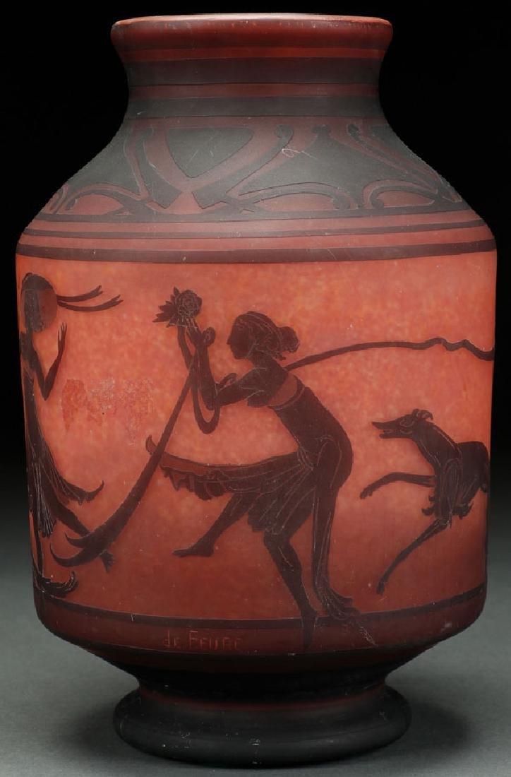 A GEORGES DE FEURE FOR DAUM NANCY CAMEO ART GLASS