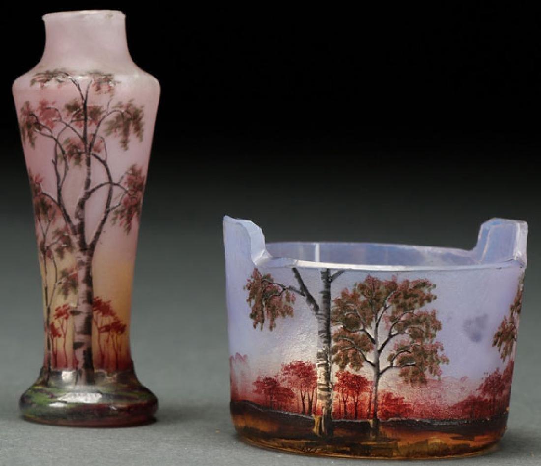 A GOOD PAIR OF DAUM NANCY ENAMELED ART GLASS