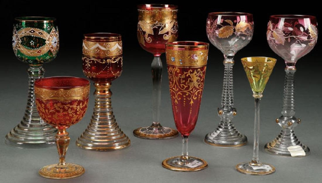 AN EIGHT PIECE GROUP OF BOHEMIAN ENAMELED GLASS