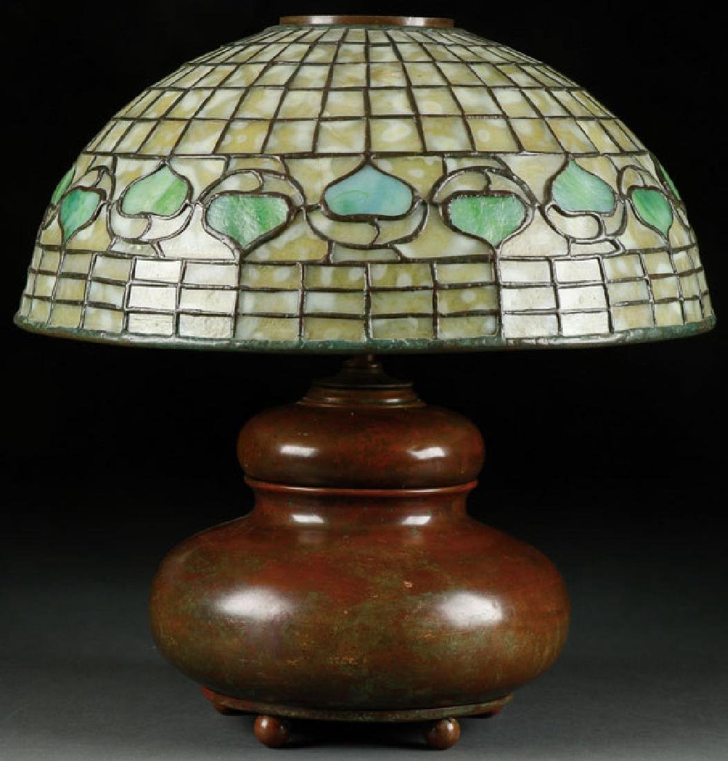 A GOOD L. C. TIFFANY FAVRILE GLASS AND BRONZE
