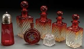 A SEVEN PIECE GROUP OF VICTORIAN ART GLASS