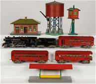 9 PIECE AMERICAN FLYER TRAIN AND ACCESSORIES