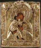 232 A FINE RUSSIAN ICON The Vladimir Mother of God