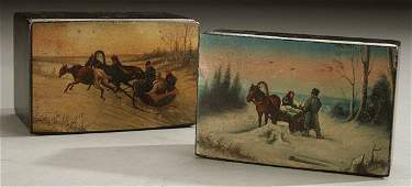 254 A GOOD PAIR OF RUSSIAN HAND PAINTED LACQUER BOXES