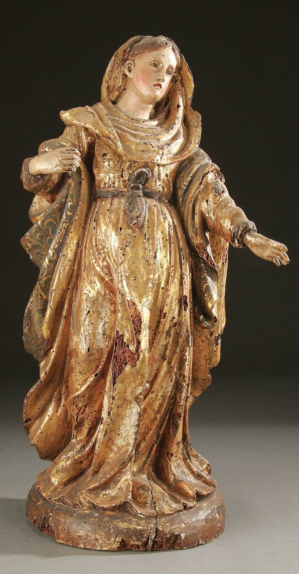 327: A CARVED AND GILT WOOD FIGURE OF THE VIRGIN Spani