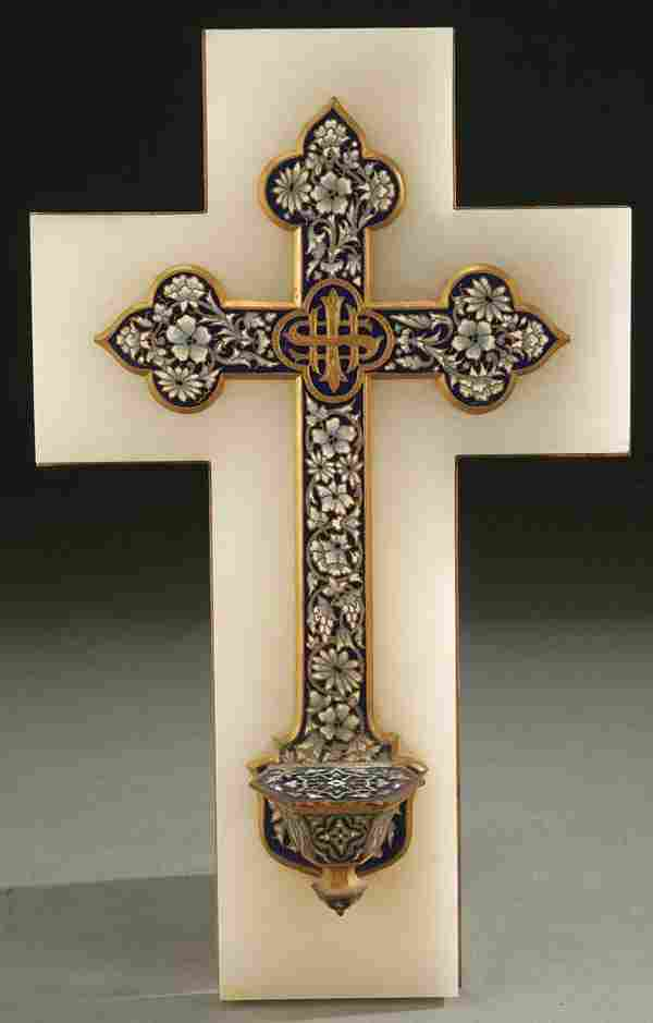 619: A HOLY WATER FONT, FRENCH GILT BRONZE AND CHAMPLE