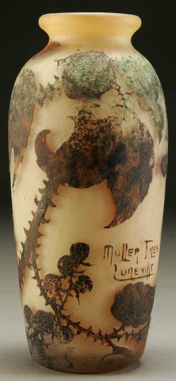 693: A MULLER FRES FRENCH CAMEO GLASS VASE circa 1910;