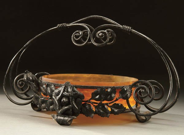 700: A MULLER GLASS AND WROUGHT IRON BASKET circa 1920