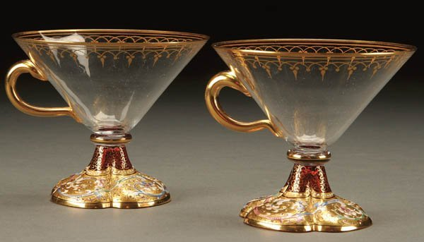 708: A PAIR OF MOSER COFFEE CUPS circa 1900; footed tr