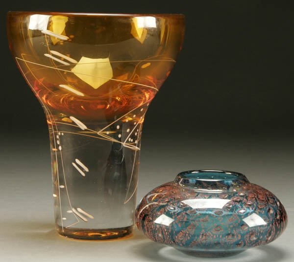 800: TWO MARK SUDDUTH GLASS VASES including a heavy ch