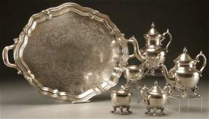 1016: A VERY FINE SILVERED COFFEE & TEA SERVICE mid 20t
