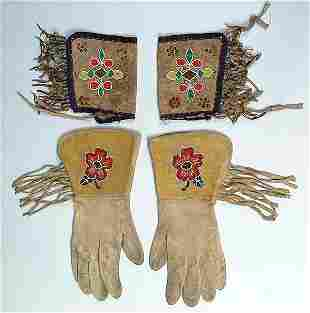 A PAIR OF PLATEAU BEADED GAUNTLETS AND PLAINS BEA