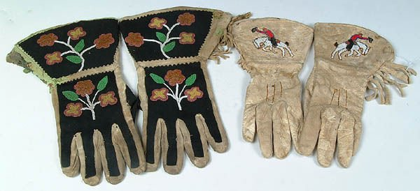 14: TWO PAIR OF EMBROIDERED & BEADED GAUNTLETS, Centr