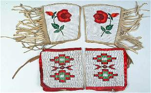 TWO PAIRS OF BEADED CUFFS, Plateau and Plains. Ea