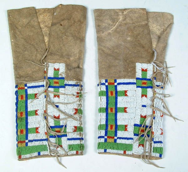 18: A PAIR OF LADIES CHEYENNE BEADED LEGGINGS C.1890.
