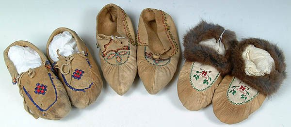 20: THREE PAIRS OF LADIES BEADED MOCCASINS, Northern