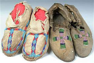 TWO PAIR OF CHILDRENS BEADED MOCCASINS, Arapahoe