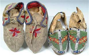 TWO PAIR CHILDRENS BEADED MOCCASINS, Chippewa & C