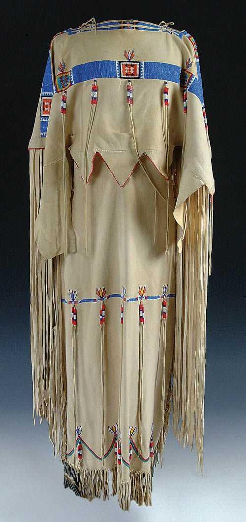 146 A Very Fine Ladies Cheyenne Beaded Buckskin Dress