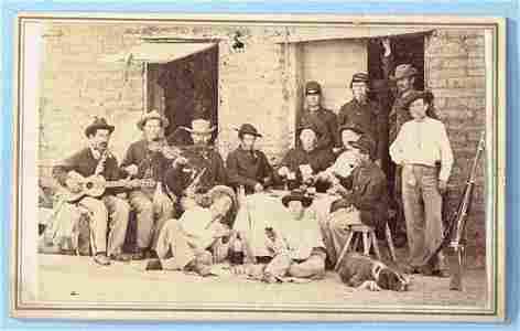 351: AN INTERESTING CDV, men playing cards, drinking a
