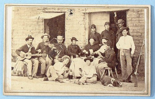 351: AN INTERESTING CDV, men playing cards, drinking a