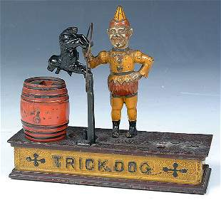 """A VERY FINE MECHANICAL BANK """"TRICK DOG"""" by Hubley"""