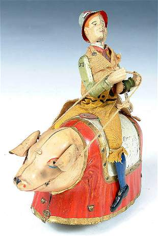 """A TIN WIND UP """"PADDY AND THE PIG"""" by Lehmann. C."""