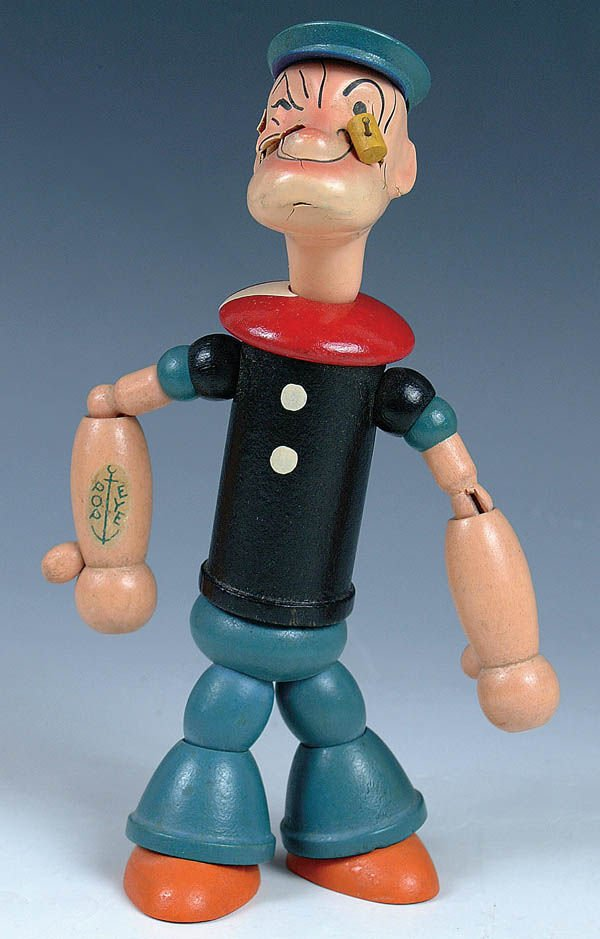 512: A FINE POPEYE DOLL wooden, jointed, by J. Chein.