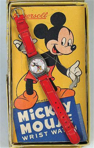 A NICE MICKEY MOUSE INGERSOLL wrist watch. Red st