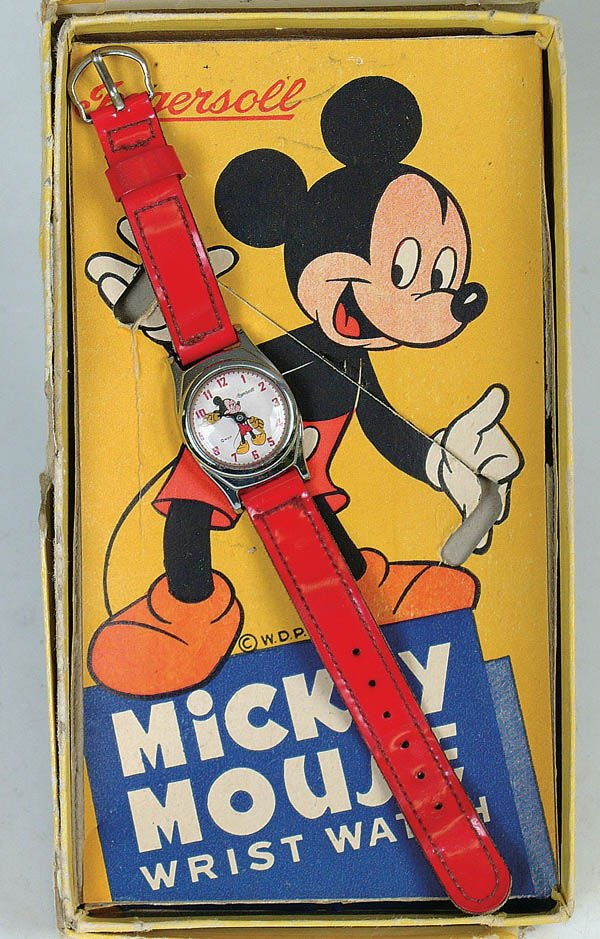 513: A NICE MICKEY MOUSE INGERSOLL wrist watch. Red st