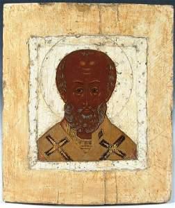 673: A RUSSIAN ICON: St. Nicholas, classic 16th centur