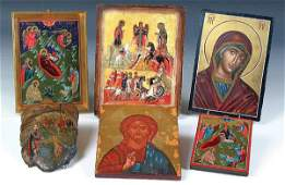 738 6 HAND PAINTED ICONS Russian  Greek all contem