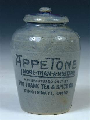 "A RARE APPETONE STONEWARE MUSTARD JAR for ""Frank"