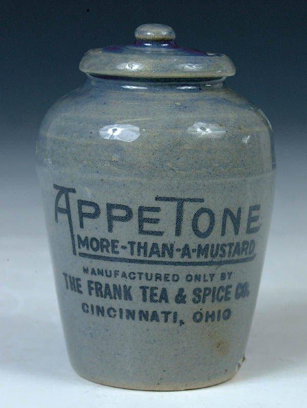 "1163: A RARE APPETONE STONEWARE MUSTARD JAR for ""Frank"