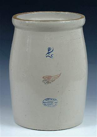 A 2 GALLON REDWING STONEWARE CHURN hairline on re