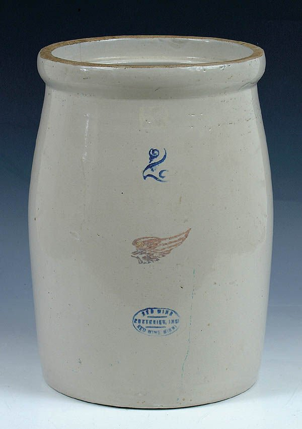 1170: A 2 GALLON REDWING STONEWARE CHURN hairline on re