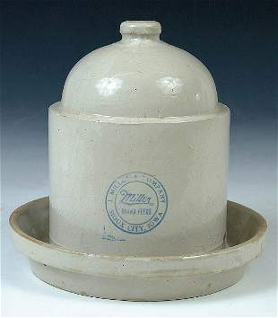 A MILLER FEEDS SIOUX CITY IOWA STONEWARE POULTY F