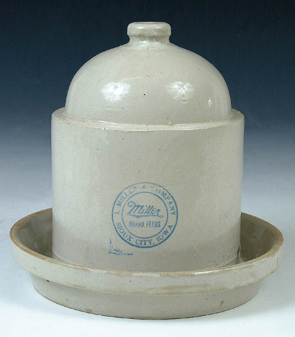 1173: A MILLER FEEDS SIOUX CITY IOWA STONEWARE POULTY F