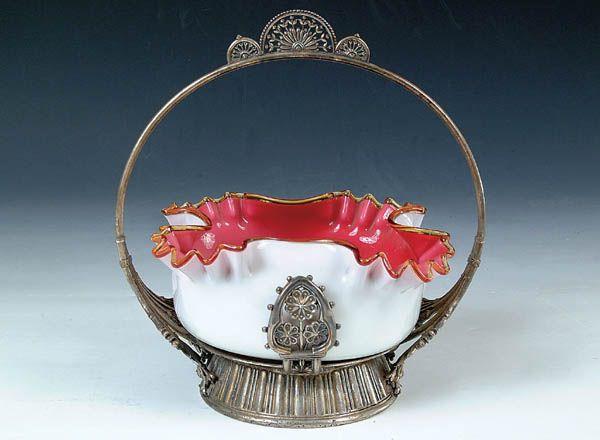 1552: A FINE VICTORIAN BRIDES BASKET with pink cased gl