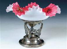1559: A FINE VICTORIAN BRIDES BOWL with pink cased and