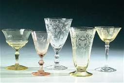 1868: A 25-PIECE GROUP OF CRYSTAL AND COLORED ETCHED ST