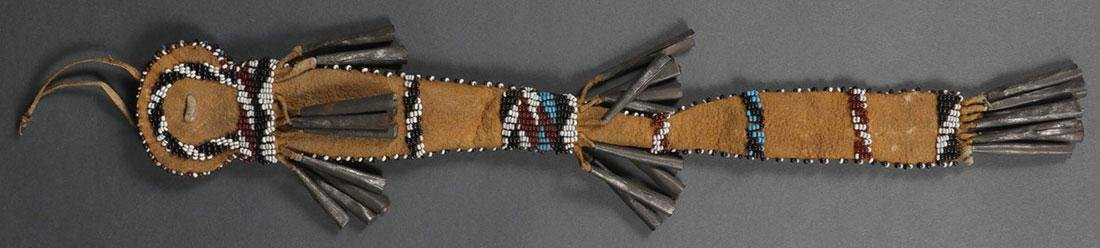 A VERY FINE APACHE BEADED AWL CASE, CIRCA 1890