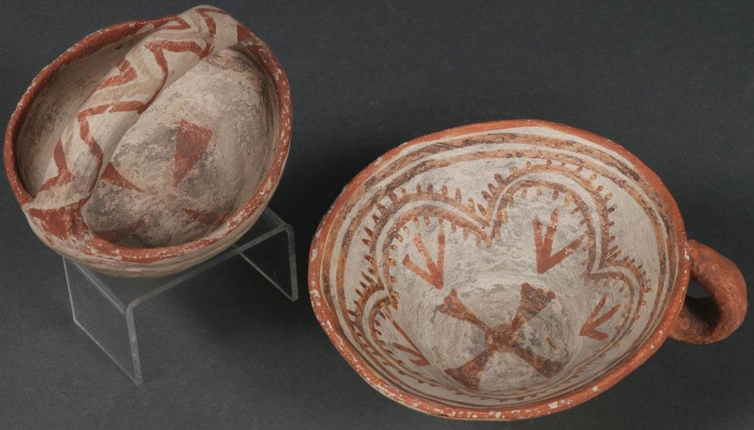 A HOPI POLYCHROME POTTERY CUP AND BASKET