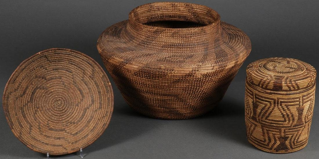 A GROUP OF THREE SOUTHWEST STYLE BASKETS
