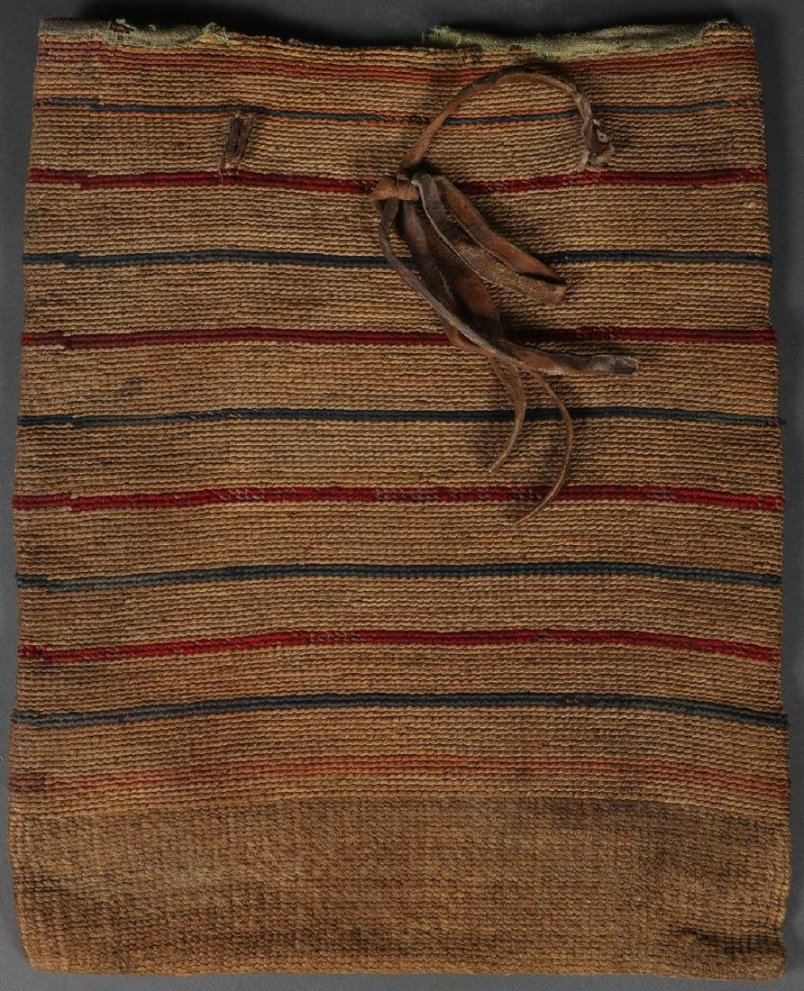 A TWINED CORN HUSK BAG, 1900