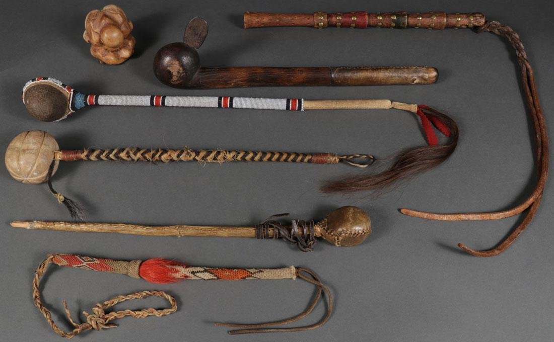 FOUR WAR CLUBS AND TWO QUIRTS, 19TH AND 20TH C.