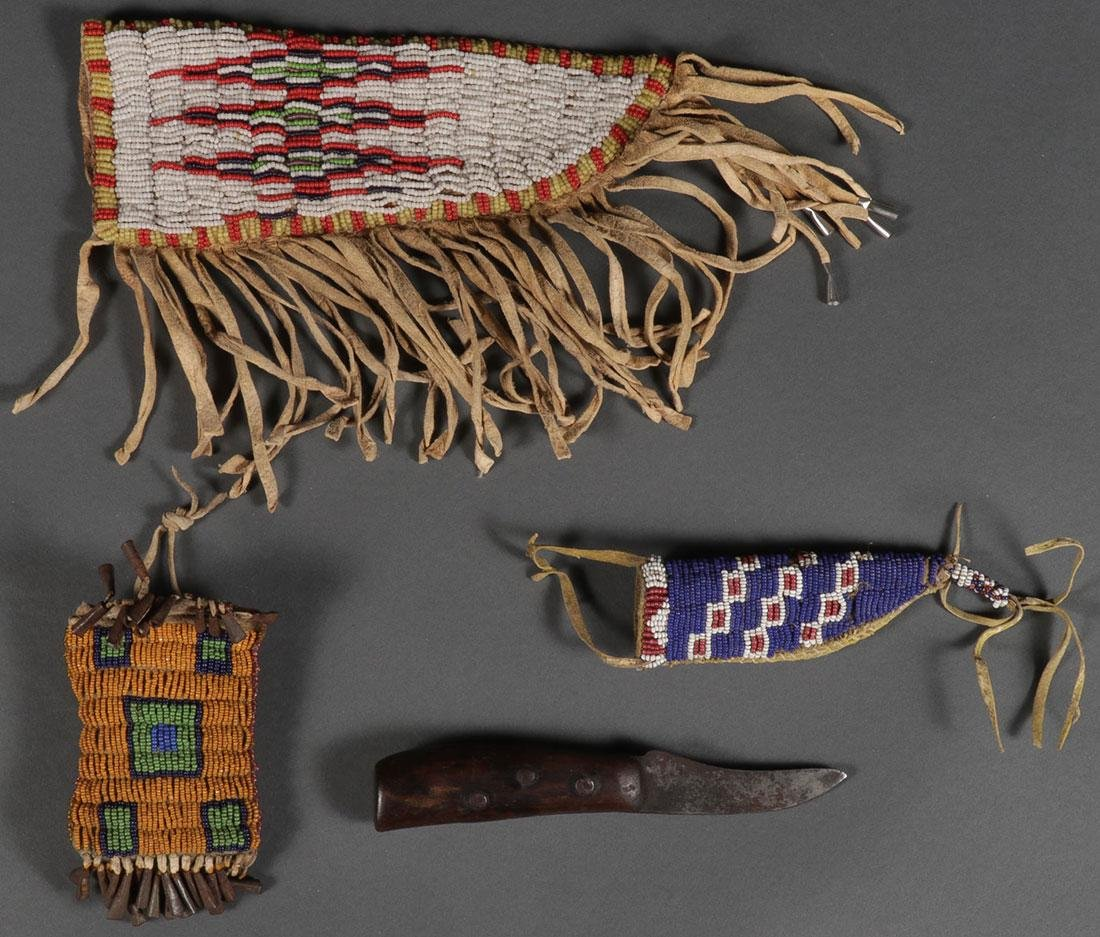 A GROUP OF SIOUX OR SIOUX STYLE BEADED ITEMS